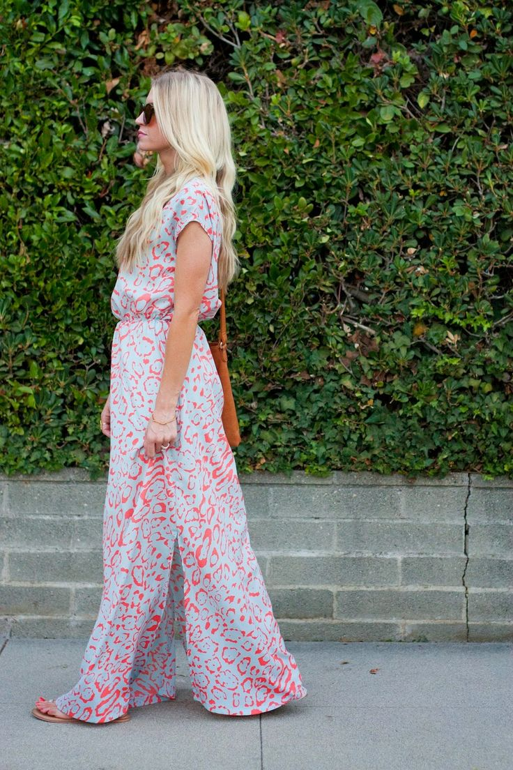 a white and pink leopard print maxi dress, sandals and an orange bag for a bold summer outfit
