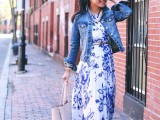 a bright white and blue maxi dress with a floral print, a denim jacket and a neutral tote for a chic everyday look