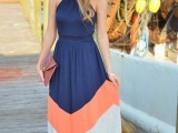 a color block maxi dress in navy, orange and white can be worn for special or usual days