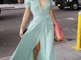 a pastel green maxi dress and a bright bag can be worn to some party or special occasion