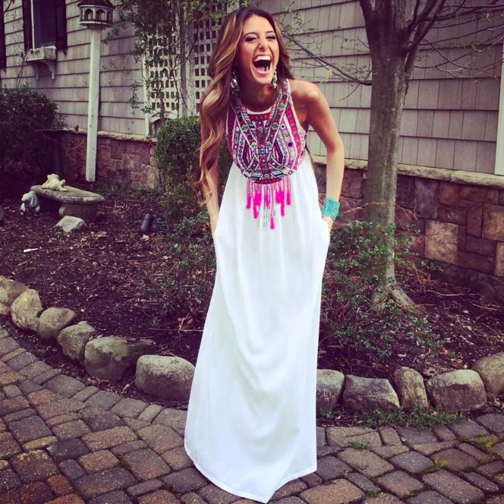 a bright boho embellished and fringe halter neckline maxi dress will help you show off your love to boho