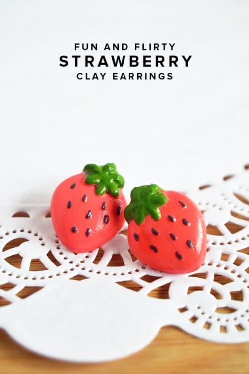 Fun And Flirty DIY Strawberry Earrings To Make