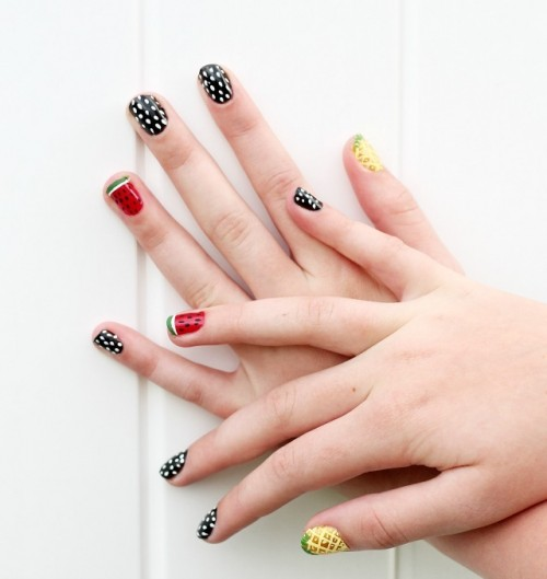 Fun DIY Retro Fruit Nail Art