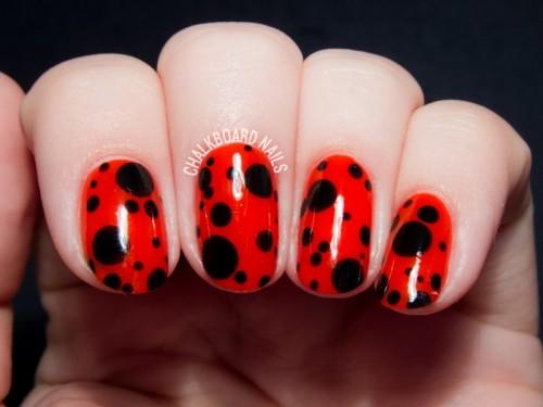 Funny DIY Ladybird Inspired Nail Art For Summer