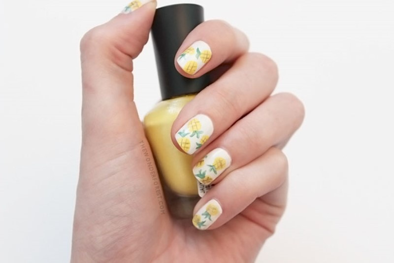 Picture Of funny diy pineapple nail art to try  1
