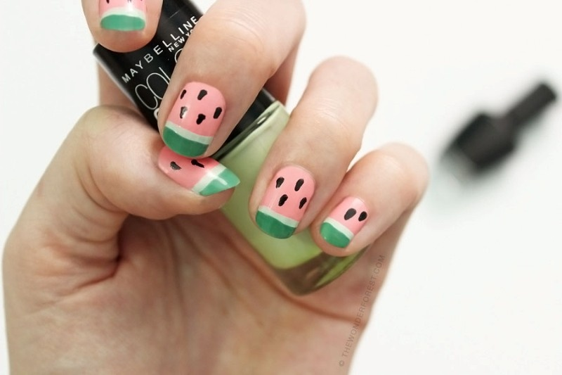 Picture Of funny diy watermelon nail art  1