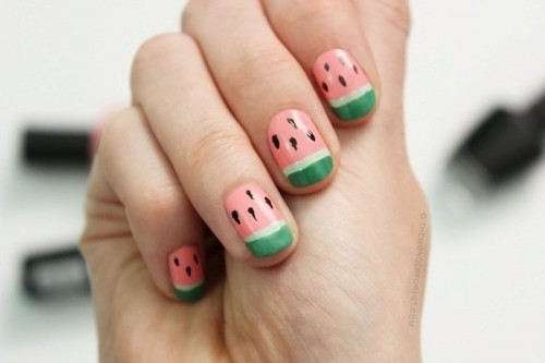 Funny DIY Watermelon Nail Art
