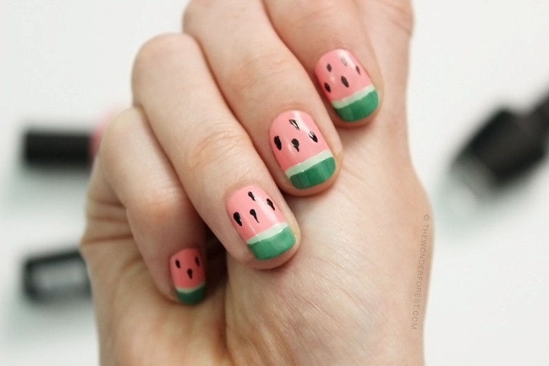 Picture Of funny diy watermelon nail art  3