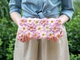 crocheted flowers clutch