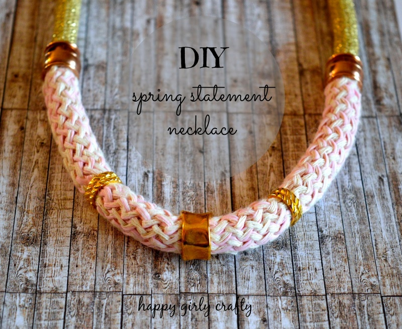 Picture Of girlish diy gold and pink statement necklace  1
