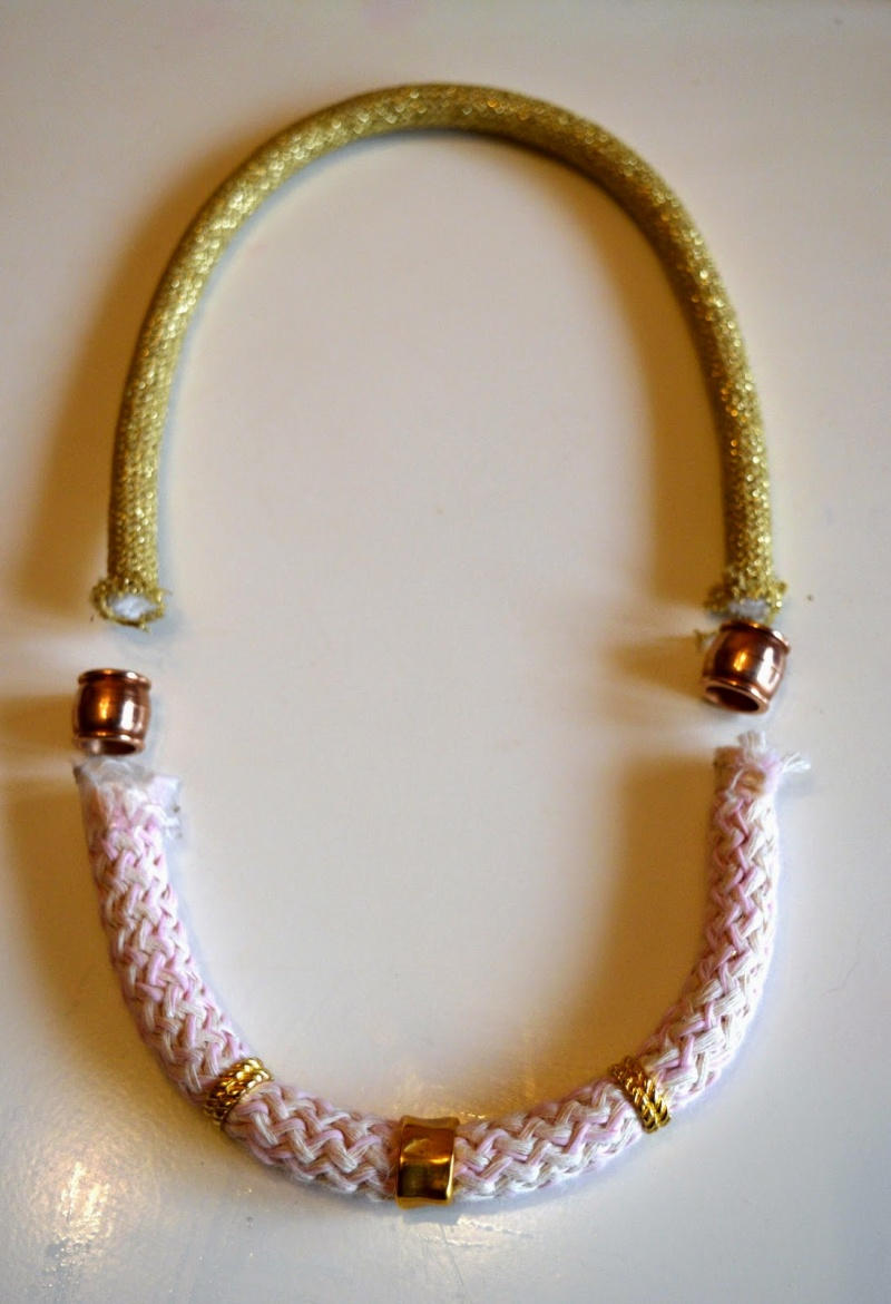 Picture Of girlish diy gold and pink statement necklace  4