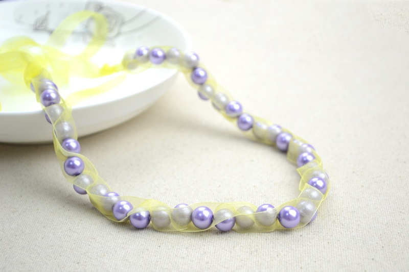 Picture Of girlish diy pearls and ribbon necklace  1