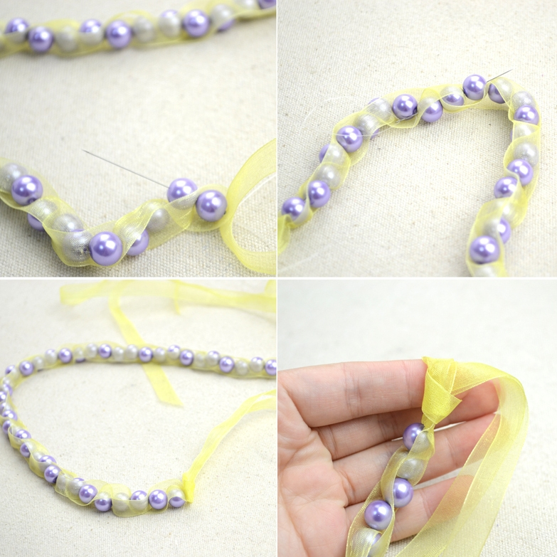 Picture Of girlish diy pearls and ribbon necklace  3