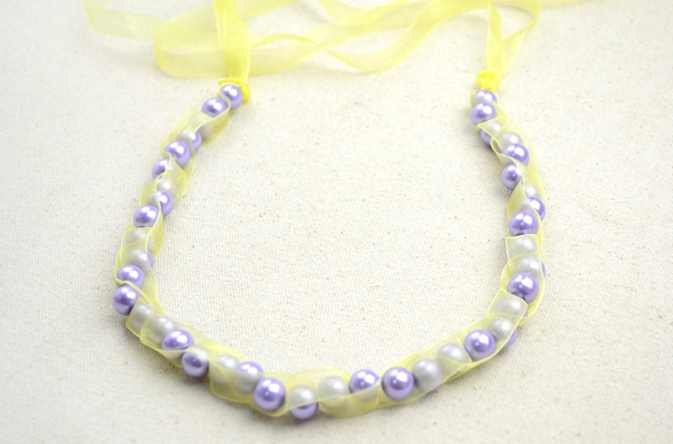 Picture Of girlish diy pearls and ribbon necklace  4