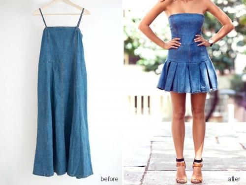 Girly DIY Pleated Denim Dress Makeover