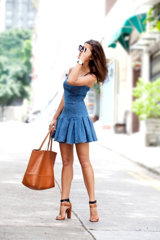 Picture Of girly diy pleated denim dress makeover  3