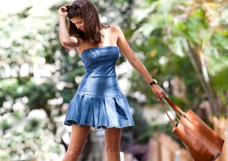 Picture Of girly diy pleated denim dress makeover  4
