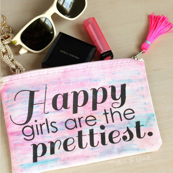 Picture Of girly diy stenciled watercolor makeup pouch  2
