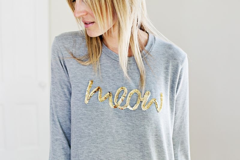 Picture Of glam and cool diy sequin phrase sweatshirt  3