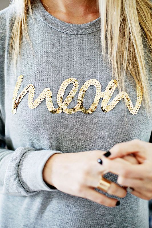 Picture Of glam and cool diy sequin phrase sweatshirt  4