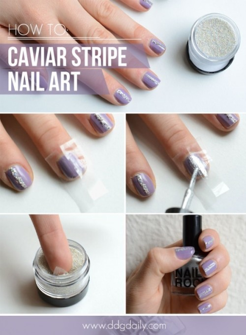 Glam DIY Caviar Strips Nail Art For The Party