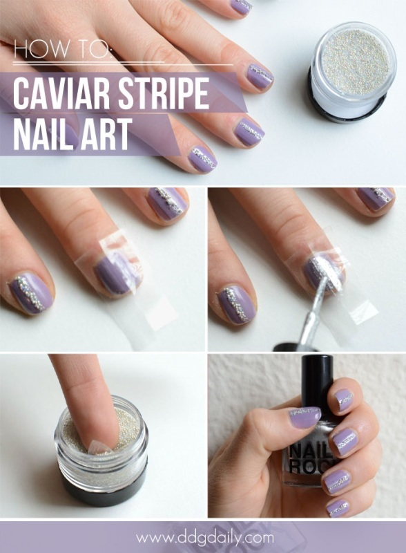 Picture Of glam diy caviar strips nail art for the party  3