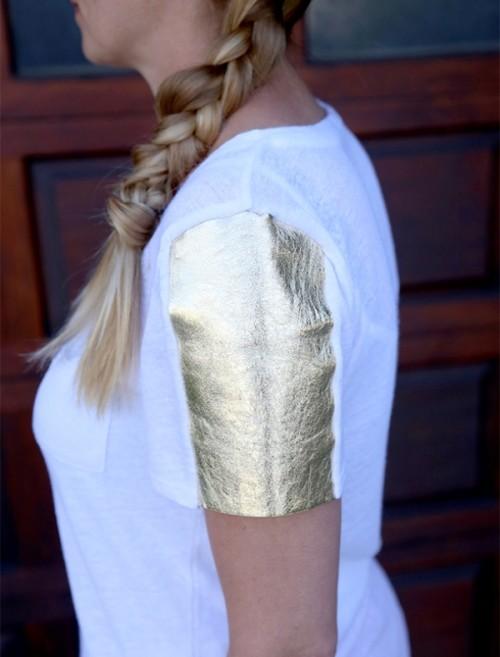 Glam DIY Leather Tee Sleeves