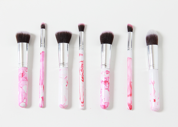 Picture Of glam diy marbleized makeup brushes  1