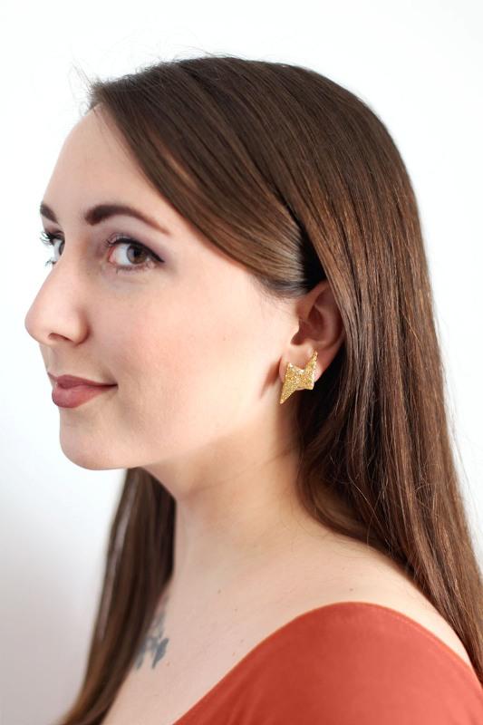Picture Of glittery gold 90s inspired diy thunderbolt earrings to make  2