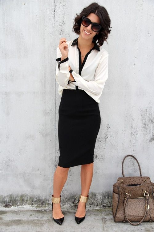 24 Gorgeous And Girlish Pencil Skirt Outfits For Work