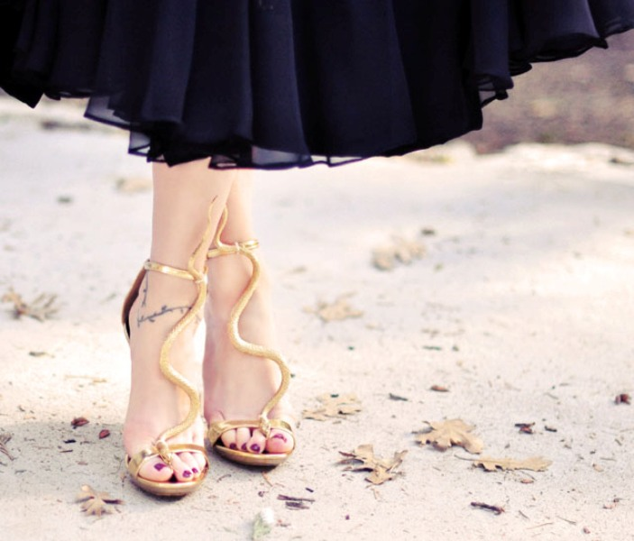 Picture Of gorgeous diy gold snake sandals inspired by guiseppe zanotti  1