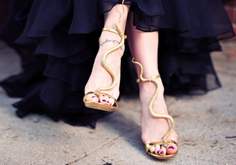 Picture Of gorgeous diy gold snake sandals inspired by guiseppe zanotti  3