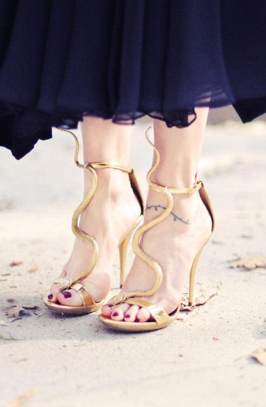 Picture Of gorgeous diy gold snake sandals inspired by guiseppe zanotti  5