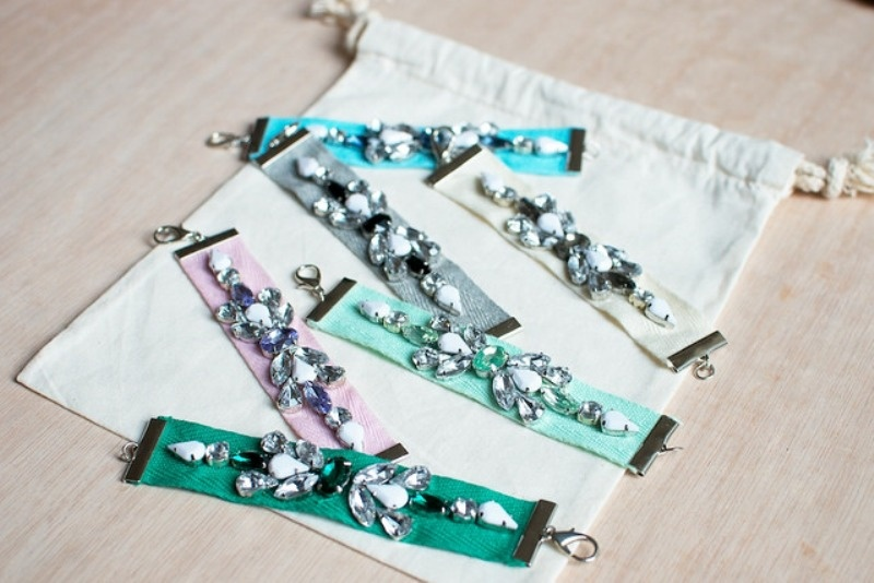 Picture Of gorgeous diy jeweled ribbon bracelets  2