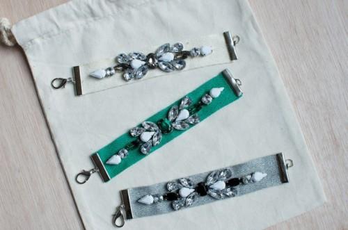 Gorgeous DIY Jeweled Ribbon Bracelets