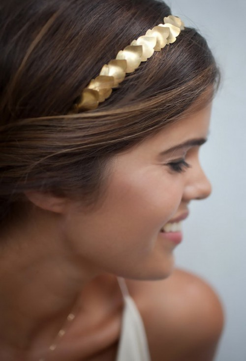Grecian-Inspired DIY Gold Leaf Headband