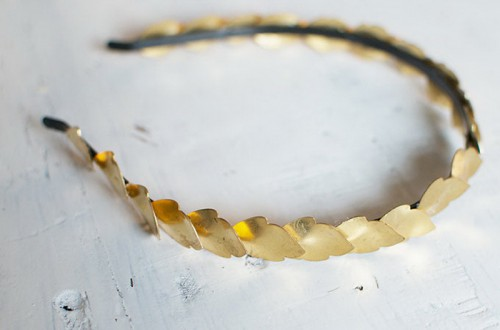 Grecian Inspired DIY Gold Leaf Headband