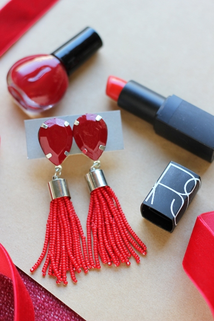 Hot Red DIY Beaded Tassel Earrings