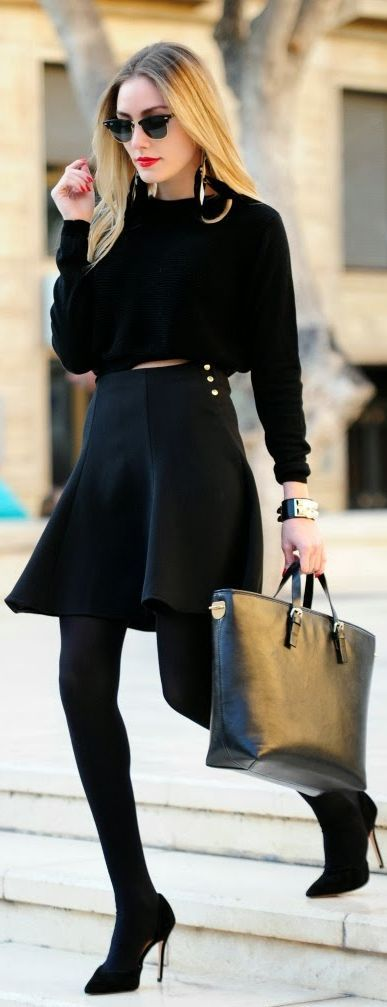 Picture Of hot total black looks for office  9
