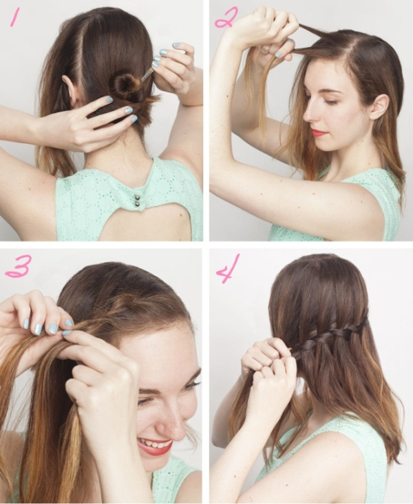 Picture Of how to make a waterfall braid on yourself  2