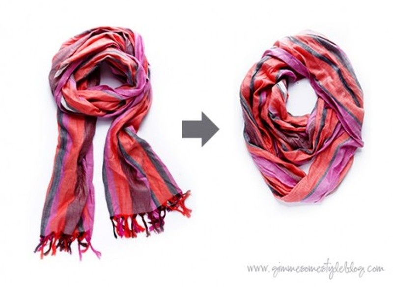 Picture Of how to turn a regular scarf into infinity scarf  1