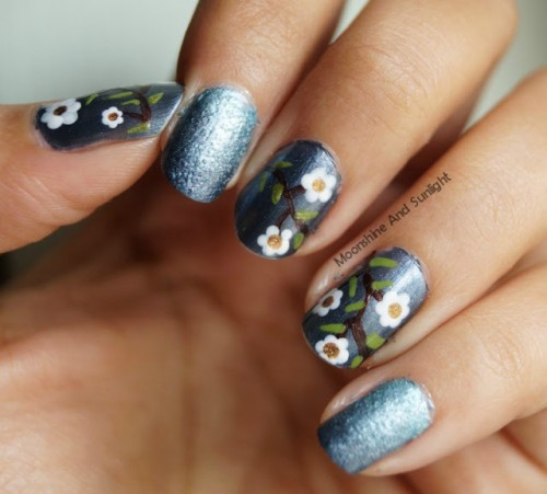 Impressive DIY Flowers On Metal Nail Art