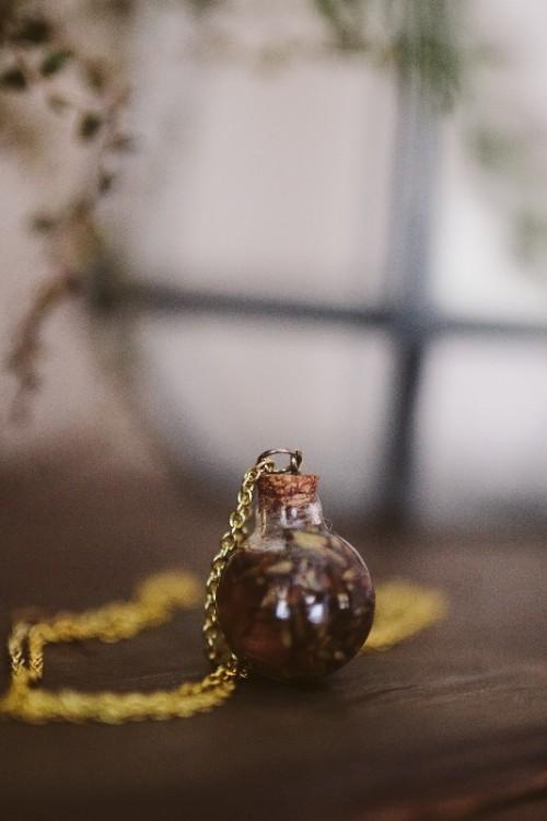 Incredible DIY Lavender Oil Bottle Necklace