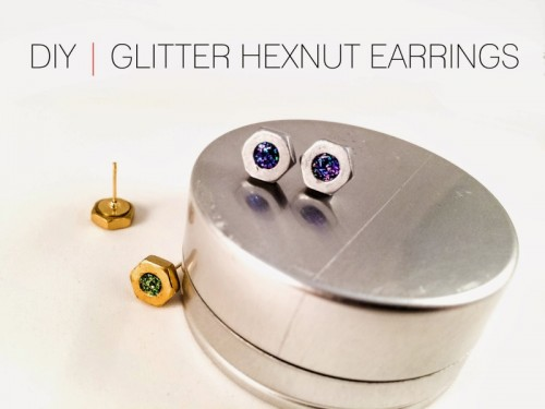 Industrial-Inspired DIY Glitter Hexnut Earrings