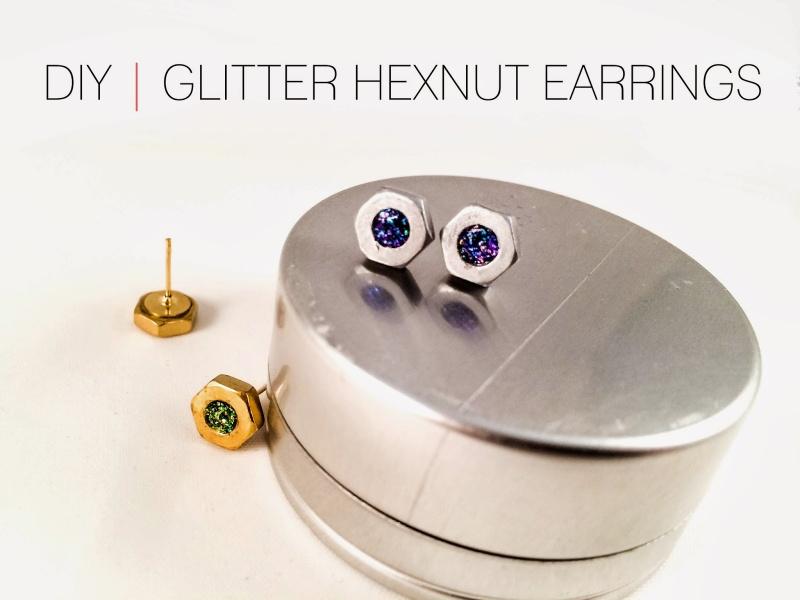 Picture Of industrial inspired diy glitter hexnut earrings  1
