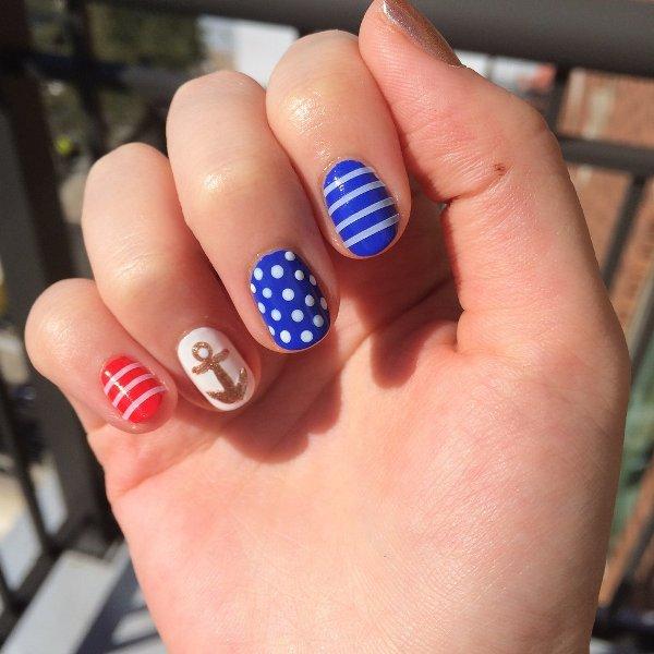 Picture Of joyful diy nautical nail art to make now  1