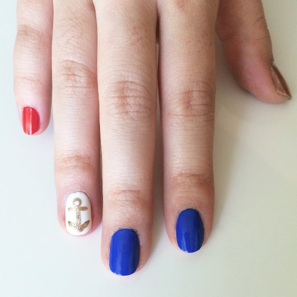 Picture Of joyful diy nautical nail art to make now  3