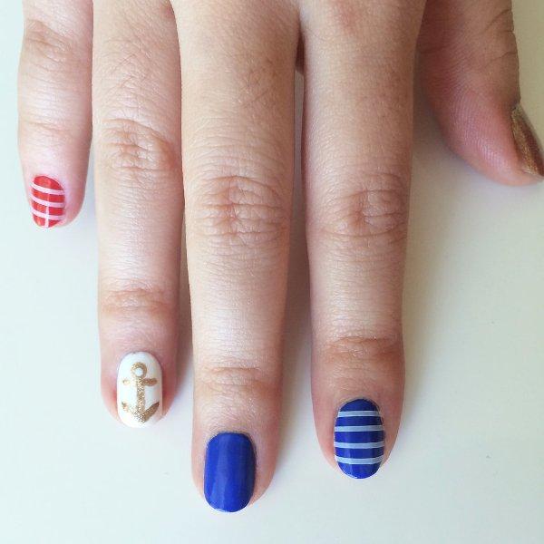 Picture Of joyful diy nautical nail art to make now  4