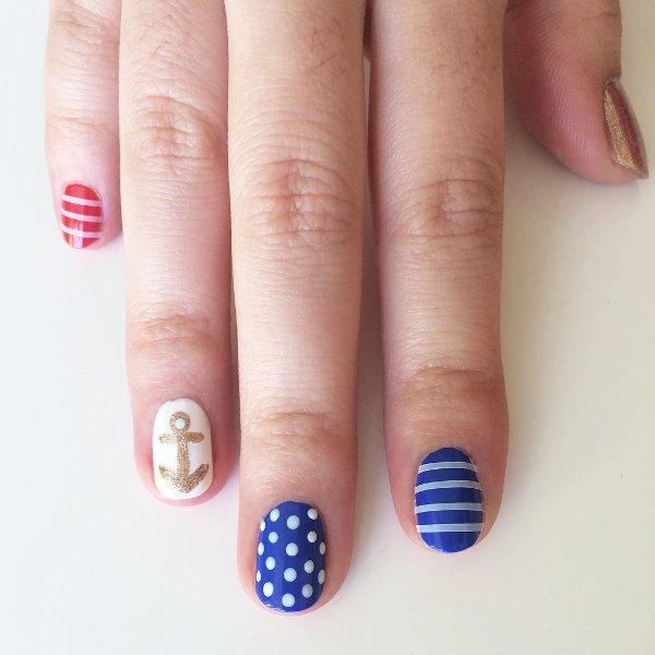 Picture Of joyful diy nautical nail art to make now  5
