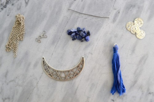 Long DIY Boho Tassel Moon Necklace
